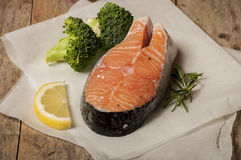 Salmon raw. salmon red fish steak Stock Photos