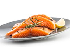 Salmon. Raw salmon steaks herb peper lemon on white background.  stock image