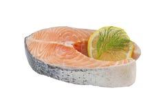 Salmon raw slice isolated Stock Image