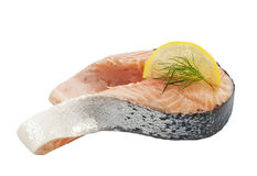 Salmon raw slice isolated Royalty Free Stock Images