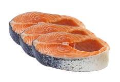 Salmon raw slice isolated Stock Photos