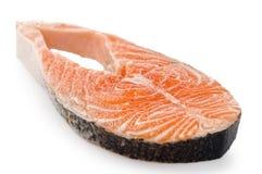 Salmon raw steak on white Royalty Free Stock Image