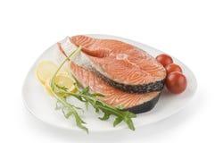 Salmon raw steak on white Royalty Free Stock Photos