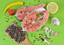 Salmon Ready for Grill Royalty Free Stock Photos