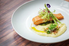 Salmon Recipes With Dill Cream Sauce stock photography