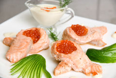 Salmon with red caviar Stock Image