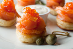 Salmon and Red Caviar Stock Photo
