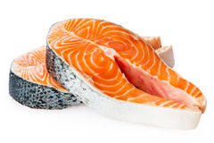 Salmon Red Fish Steak cru frais d'isolement sur un fond blanc photographie stock libre de droits