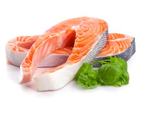 Salmon. Red Fish Steak isolated Stock Images