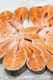 Salmon Red Fish Steak på fiskmarknaden Rå nya biffar av laxen fiskar som bakgrund Stor hög av laxbiff med is bifokal arkivfoton