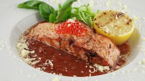 Salmon in red tomato sauce with caviar stock video