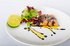 Salmon with a reduction of balsamic vinegar and sugar Royalty Free Stock Image