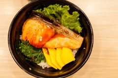 Salmon rice Japanese food; healthy delicious seafood Stock Images
