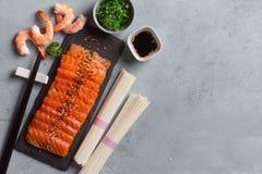 Salmon with rice noode Stock Photos