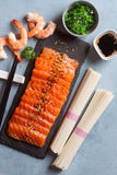 Salmon with rice noode Royalty Free Stock Photography
