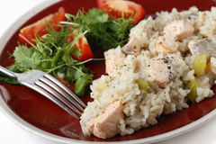 Salmon risotto close up with fork Royalty Free Stock Images