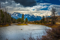 Salmon River Lower Stanley Idaho. Sawtooth Range Stock Photos