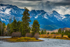 Salmon River Lower Stanley Idaho. Sawtooth Range Royalty Free Stock Photo