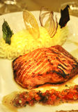 Salmon roasted on fire and smashed potato Royalty Free Stock Image
