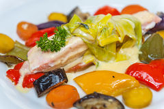 Salmon with roasted vegetables royalty free stock images