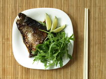Salmon with rocket salad Royalty Free Stock Photo