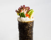 Salmon Roe Avocado Hand Roll Temaki. On seaweed wrapper, white background Stock Photography