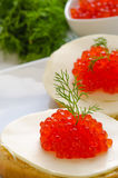 Salmon roe canapes Royalty Free Stock Image
