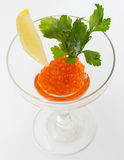 Salmon roe in goblet with lemon and parsley Stock Photography