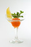 Salmon roe in goblet with lemon and parsley Stock Images