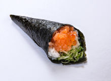 Salmon Roe Hand Roll Temaki photo stock