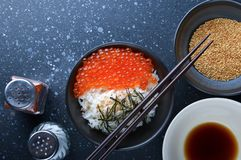 Salmon roe with rice. Salmon roe with rice and ingredients in Japanese food style royalty free stock photography