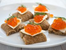 Salmon roe sandwiches Stock Photos