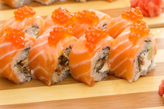 Salmon roe sushi roll Stock Image