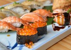 Salmon roe sushi in sushi set Stock Photography
