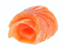 Salmon roll. Red salmon roll isolated on white macro Stock Photo