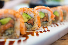 Salmon Roll Stockbild