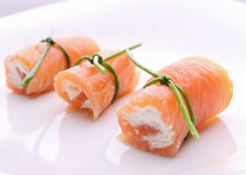 Salmon roll with cheese Stock Image