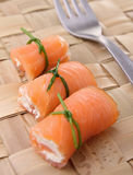 Salmon roll with cheese Stock Photos