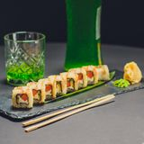 Salmon roll , Japanese favorite food sushi maki. Color royalty free stock image