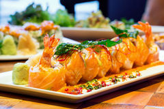 Salmon Roll with Shrimps Royalty Free Stock Image