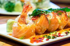 Salmon Roll with Shrimps Stock Photo