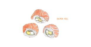 Salmon roll sushi . Hand drawn vintage sushi set Stock Images