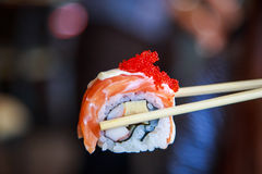 Salmon roll sushi Japanese food Royalty Free Stock Image