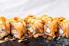 Salmon Roll Sushi. Japanese Food style royalty free stock image