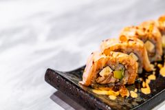 Salmon Roll Sushi. Japanese Food style royalty free stock photos