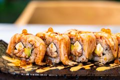 Salmon Roll Sushi. Japanese Food style royalty free stock photography
