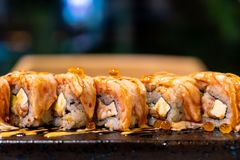 Salmon Roll Sushi. Japanese Food style stock images