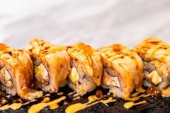 Salmon Roll Sushi. Japanese Food style stock image