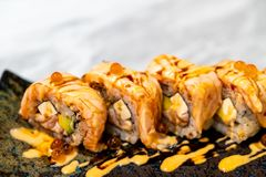 Salmon Roll Sushi. Japanese Food style royalty free stock images