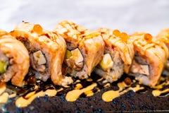 Salmon Roll Sushi. Japanese Food style stock photos